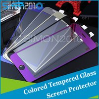 Wholesale Colored Iphone 5s Screen - Colored Screen Protector Tempered Glass Guard Plating Explosion Proof film For iPhone6 6+ iphone 5 5s Front and Back Retail Package