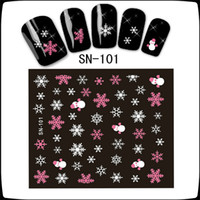 Wholesale Mixed Decals - Can Mix design High Quality 3D Nail Art Tips Christmas Snowman Snowflakes Design Decals Girl Nails Stickers Accessories