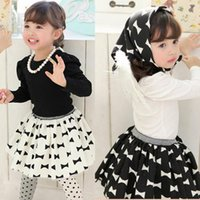 Wholesale Knot Long Sleeve Girl Shirts - Kid Girls Suits Long Sleeve Shirt+Bow-knot Skirt+Kerchief 3PCS Set Outfits Clothes 1-5Y