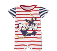 Wholesale Baby Pirate Romper - Wholesale-2015 new summer style baby boys clothes pirate navy short sleeve Romper one-pieces jumpsuits newborn baby rompers