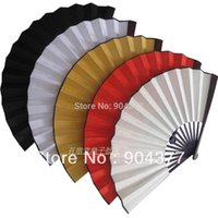 "Wholesale Chinese Painted Silk - 10"" 8"" Large DIY Blank Folding Hand Fans Chinese Silk Fine Art Painting Programs Adult Men's Fan Crafts Gift 10pcs lot Free shipping"