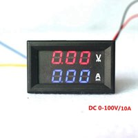 "Wholesale Volt Meter Blue - 4 PCS 0.28"" Red Blue LED DC 0-100V 10A Dual Display Meter Digital Voltmeter Ammeter Panel Amp Volt Gauge"