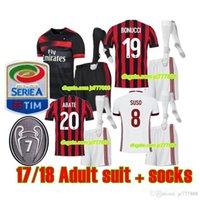 Wholesale football milan ac - 2018 AC Milan Soccer Jersey kits+socks 17 18 AC Milan Home and Away third Soccer Shirt Customized #10 CALHANOGLU #19 BONUCCI football shirt