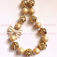 Wholesale Rose Flower Statement Necklace - Gold Bowknot &Gold rose flower Beads gold dull polish Beads chunky bubblegum girl statement necklace CB649