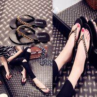 Wholesale Black Rubber Flip Flops - 2016 Fashion Summer Black Flat Sandal Rubber Non-Slip Flip Flops Slippers Shoes Black Beach Metal Chains Sandals D783L