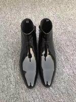 modèles de vêtements élégants achat en gros de-Respirant élégant Zipper Martin bottes Luxury Design Robe d'affaires Chaussures en cuir Shallow hommes Flats Robe Toe Pointu véritables chaussures en cuir