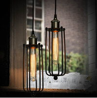 Wholesale Vintage Fluorescent Light - Hot Vintage Edison Industrial Ceiling Pendant Lamp Hanging Lighting Loft American Country Restaurant Bedroom Lamp European Retro iron lamps