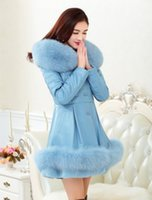 Wholesale Sheepskin Fox Fur Coat - 2016 winter women The high-end atmosphere Parka Fox fur collar overcoat Genuine Leather coat Sheepskin jacket
