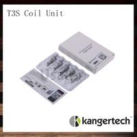 t3s 1.8 bobina al por mayor-Unidad de bobina Kanger T3S Bobinas de repuesto de Kangertech T3S CC Clear Cartomizer Cabeza 1.5 1.8 2.2 2.5 ohm. Bobinas para atomizador T3S 100% original