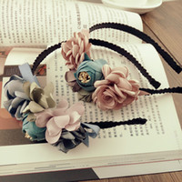 Wholesale Handmade Girls Hair Bows - Fashion Vintage 3D Flower Children Hair Clasp Korean Floral Hair Accessories Kids Sticks Sweet Flower Girl Hairband Handmade Hairband A5175