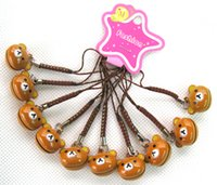 Wholesale Phone Jobs - Job Lot 60 pcs Brown Color Cartoon Rilakkuma cell phone blue cord charms with bell