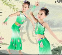 Wholesale Dai Dance - dance skirts Peacock dancewear Children Peacock Peacock costumes dance clothes children clothes girls game Dai ethnic dance clothes