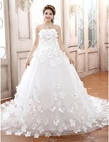 online shopping Ball Gowns - 2016 New Hot Fashion Free Shipping Elegant Ball Gown Strapless Lace-up Flowers Tulle Chapel Train Wedding Dresses 100
