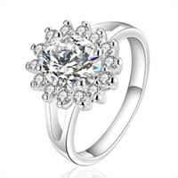 Wholesale Swarovski Ring White - Rings for Women Cubic Zirconia 925 Sterling Silver Plated Diamond Engagement Ring Wedding Swarovski Crystal Silver Rings Gemstone Rings