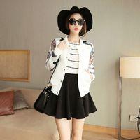 Wholesale Short Females - Plus Size 2015 Winter Women Jackets Outerwear Female Short Thin Baseball Uniform Floral Long Sleeve Slim Jacket Coat Feminino