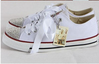 Wholesale Diamond Bowtie - Hot new 2016 men and women star shoes, unisex classic white canvas shoes, fashion brand DIY creative sticky diamond shoes all 35-41