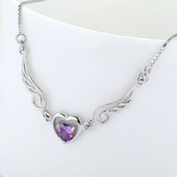 Wholesale Pendant Guarantee Sterling - Wholesale Angel Heart Pendant Necklace With Zircons 100% Guaranteed Geuinie 925 Sterling Silver Pendants Necklaces High Quality YH4252