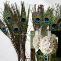 Wholesale Peacock Wedding Cakes - Wholesale 100pcs Lot Natural Peacock Feather 10-12 Inchs Plume Centerpiece Wedding Party Table Decoration Wedding Decorations DIY Feathers