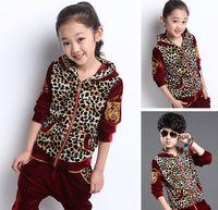 Wholesale Children Velour Pant Suits - Children Clothing Kids Cute Suit Hoodies+Pants 2pcs Leopard Pattern Spring Autumn Velure Clothes Suit 4 Colors 6s lot