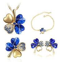 Wholesale clover shaped necklaces for sale - Group buy Austria Crystal Clover Necklace Earrings Bracelets Brooch Sets Fashion Leaf Shape Jewelry Cheap Jewelry Sets For Women