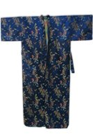 Wholesale Navy Blue Silk Robe - Wholesale-Summer Navy Blue Chinese Men Silk Satin Bathrobe Vintage Dragon Robe Nightwear Kimono Yukata Gown Size S M L XL XXL MR098