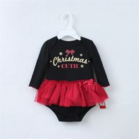 Wholesale Tulle Rompers Baby - Wholesale-Xmas Newborns My First Christmas Black Bodysuit Red Lace Tulle Pettiskirt Baby Dress Newborn Baby Rompers Tutu Skirts NB-12M