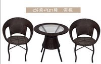 Wholesale Wicker Outdoor Chair - Cany chair three-piece tea table. The balcony leisure outdoor furniture milk tea shop cafe tables and chairs.