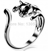 Wholesale Cool Womens Rings - Hot Sweet Jewelry Womens Cool Silver Plated Kitten Cute Cat Ring With Crystal Eyes