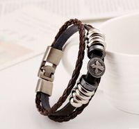 Wholesale Christmas Rope Bracelets - New popular High Quality belt cross Men's Charm Bracelets Titanium Stainless Steel Jewelry punk Leather Braided Bracelet Christmas gift SZ37