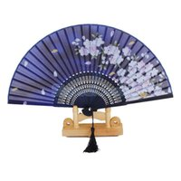 Wholesale Blue Silk Folding Fan - New Chinese Japanese Folding Fan Silk Hand Flower Home Decoration Supplies Crafts Bamboo Blue Fans Accesories Free Shipping