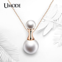Wholesale Bottled Pearl Necklace - UMODE Perfume Bottle Shaped 12mm Shell Powder Synthetic Pearl 18K Rose Gold Plated Pendant Necklaces Jewelry for Women UN0220A