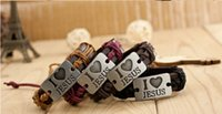 Wholesale Cross Bracelet Rope - I love jesus Handmade Unisex Men Women's Leather Bracelet braided Tribal Bangle