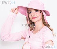 Wholesale Sun Protection Flap Hat - New Women And Men Summer Fishing Hiking Brim Travel Cap Neck Flap Hat Good Quality 2pcs