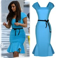Wholesale kim kardashian knee length dresses - New 2016 Short Sleeve Sexy Ladies Kim Kardashian Celebrity Sky Blue Falbala Vintage Women Summer Bodycon Party Pencil Mermaid Dress Plus siz