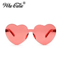 Wholesale Red Heart Shaped Sunglasses - WHO CUTIE 2018 Love Heart Shape Sunglasses Women Rimless Frame Tint Clear Lens Colorful Sun Glasses Red Pink Yellow Shades 448