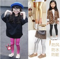 Wholesale Kids Fashion Leather Leggings - 2016 Kids Girls Faux Leather Tights Leggings Baby girl Shiny Gold Tight pants babies clothes children's clothing Shining fashion cool A8