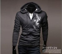 Wholesale Male Dragon Clothing - Male Cardigan Chinese Men's Clothing Han Edition Cultivate One's Morality Men's Big Yards Coat Dragon Printing Large Hooded Fleece