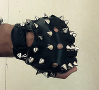 Wholesale Short Leather Gloves For Women - Wholesale-Free Shipping Otherness Black Leather Punk Gloves Short Metal Rivet Punk Gloves For Men & Women