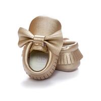 chaussettes bébé chaussures livraison gratuite achat en gros de-3pars / lot Bowknot Solide Or Bébé Chaussure Doux Frange Garçon Chaussettes Enfant Premiers Marcheurs 0-2ans Livraison Gratuite