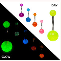 Wholesale Glowing Belly Button Rings - belly nave bar 100pcs lot mix 6 colors glow in dark body piercing jewelry belly buttonring