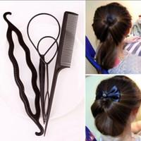 outil de tressage achat en gros de-Cheveux Style Styling Clip Bâton Bun Maker Tresse Outil Accessoires de cheveux New Fashion 1 set = 4pcs Livraison gratuite