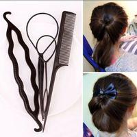 ücretsiz aksesuarlar üreticisi toptan satış-Saç Büküm Şekillendirici Klip Çubuk Bun Maker Örgü Aracı Saç Aksesuarları Yeni Moda 1 takım = 4 adet Ücretsiz kargo