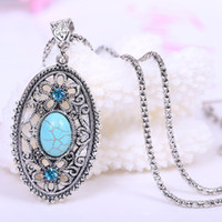 Wholesale Tibet Silver Turquoise Pendant Wholesale - Fashion women girl Natural Turquoise Stone necklaces cute tibet silver Sweater Chain animal cartoon Pendants Necklace charm jewelry