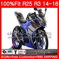 Wholesale Yamaha 25 - Injection Blue black Cowling For YAMAHA YZF-R3 YZF-R25 YZF R 3 R 3 YZFR3 Body 83NO56 YZFR25 R25 14 15 16 R 25 R3 2014 2015 2016 Fairing Kit