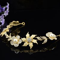 Wholesale Gold Crown Head Band - Queenwedding 2015 Vintage Gold Princess Crystal Tiaras Flower Bridal Accessory New Style Rhinestones Pearl Head band Wedding accessories