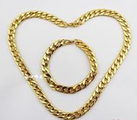 akrilik bağlantı takı toptan satış-Moda Takı Vintage Kaplama 18 K Altın Erkekler 'S Akrilik Link Zinciri / Kolye Bilezik Takı Seti DIY Ücretsiz Nakliye 2 Takım P291