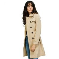 2017 Autumn New High Fashion Brand Mulher Classic Double Breasted Trench Coat impermeável Raincoat Business Outerwear