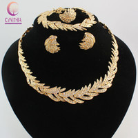 Wholesale China Luxury Goods - Good Quality Luxury Leaf 18K Gold Silver Plated Crystal Necklace Earrings Bracelet Ring Jewelry Sets African Fashion Women Party Set