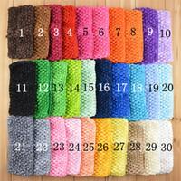 bandeaux de crochet pour enfants achat en gros de-2.75 pouce 30 couleurs Crochet Bandeau Filles Crochet Bandeaux serre-tête pour enfants Couvre-chefs Assortiment B11