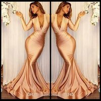 Wholesale Elegant Maternity Wear - Sexy Deep V Neck Long Sleeve Mermaid Prom Dresses 2018 New Elegant Ruffles Cheap Evening Gowns Formal Party Wear Custom Made